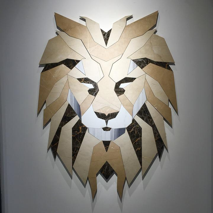 Lion Design Creative Wall Art Mosaic Decoration