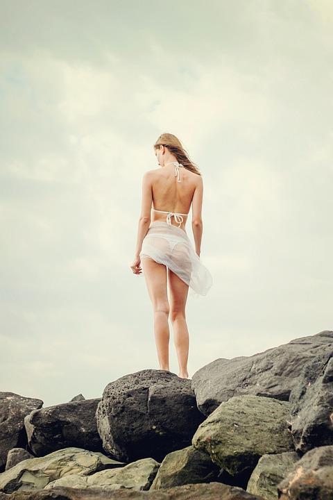 Vrouw, Bikini, Strand, Rotsen, Meisje, Jonge Vrouw