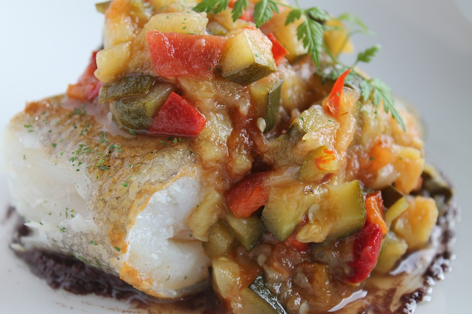 Bacalhau, Ratatouille, Legumes, Alimentos, Restaurante