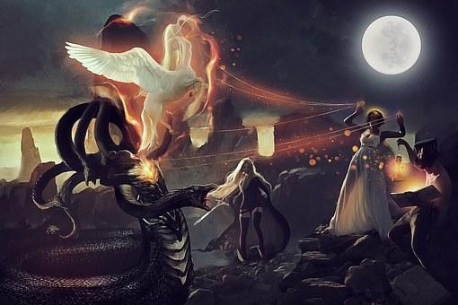 Medusa, Pegasus, Athena, Perseus, 7So0O