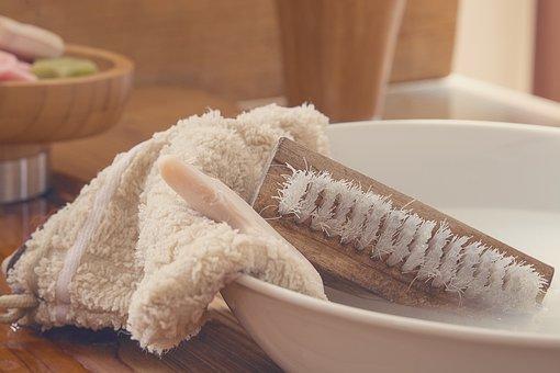 手ぬぐい, 手のブラシ, ウォッシュ ブラシ, 石鹸, 洗濯ボウル, 水