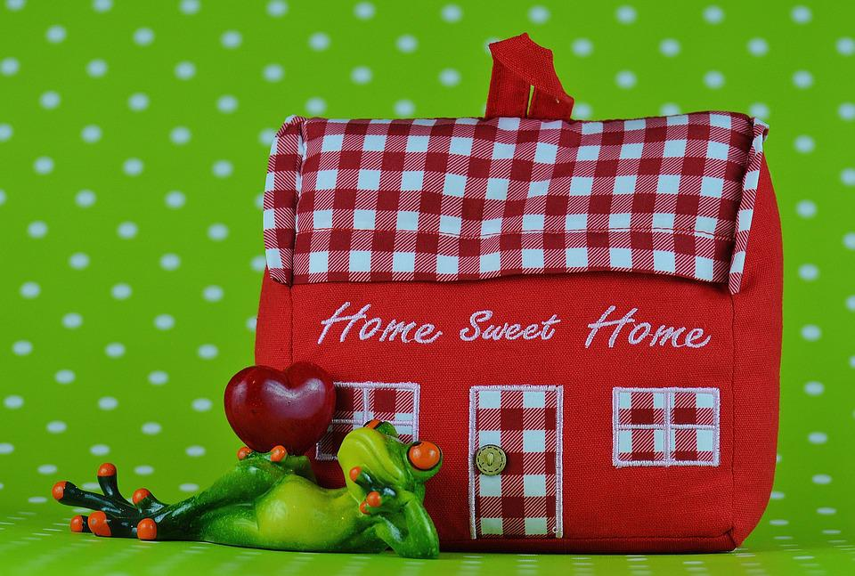 House, Frog, Heart, Home, At Home, Fabric, Decoration