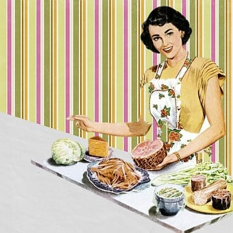 Retro Housewife Vintage Collage Art Cookin