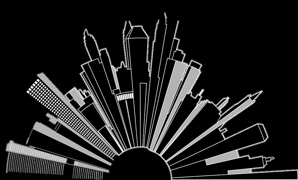 都市の景観, 建物, 高層ビル, スカイライン, 都会のジャングル, グレースケール, 歪み, 歪曲, アート