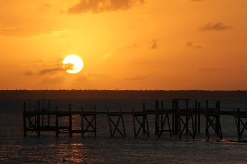 Bahamas Sunset Pier Dock Sea Island Caribb
