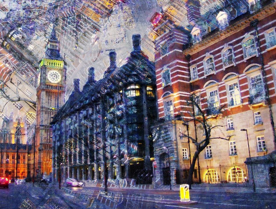 London Street City Buildings Big Ben Clock