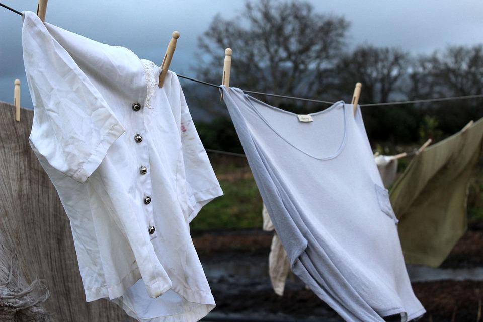 เสื้อผ้า, เก่า, ซักผ้า, สาย, พายุ, ฝน, มืด, วินเทจ