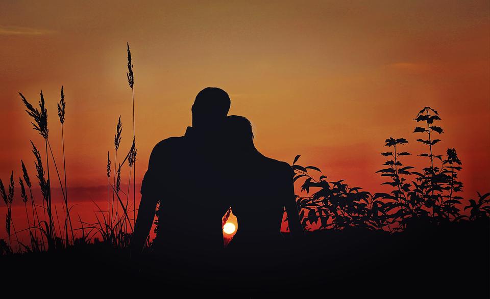 Free Illustration: Lovers, Pair, Love, Sunset, Romance