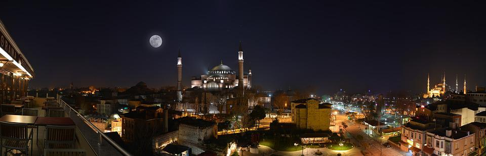 Night, Cami, Hagia Sophia, Istanbul, Turkey, Moonlight