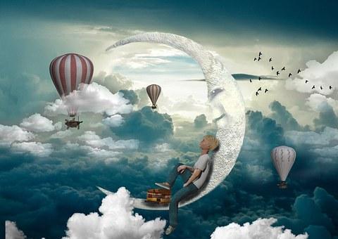 Boy, Jeans, Shirts, Moon, Balloon