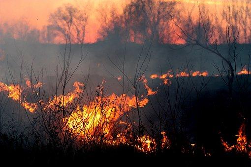 Incendie, Fumée, Coucher De Soleil