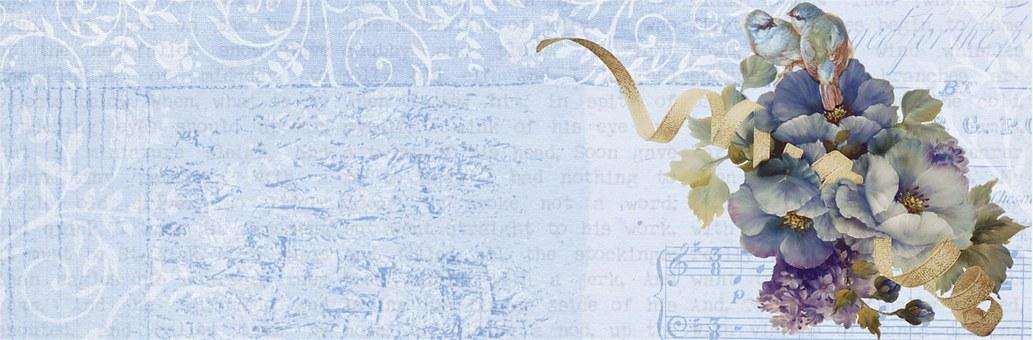 Vintage Flower Blue Banner Floral Bac