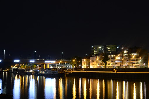 Nachtopname, Arnhem, Rijn, Kade, Water