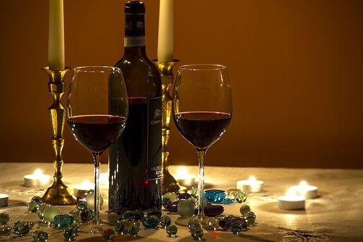 Wine, Wine Glasses, Moody Evening