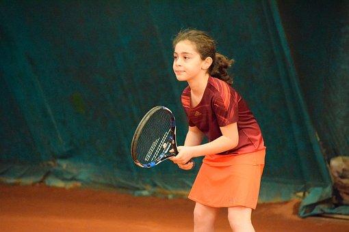 Tennis, Girl, Sport, Racket, Action
