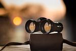 binoculars, dusk, sunset