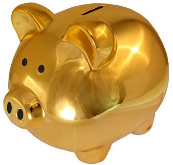 Piggy Bank Golden-Saving Sham Save Money P