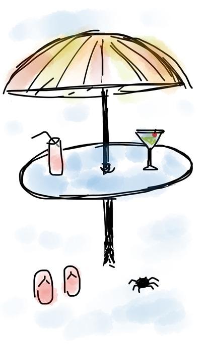 Beach, Umbrella, Drink, Martini, Soft Drink, Table