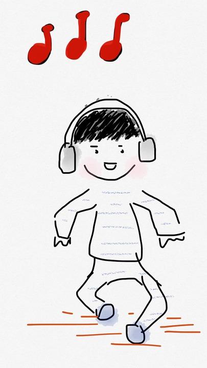 Junge, Tanz, Musik, Kopfhörer, Kinder, Kind, Kleinkind