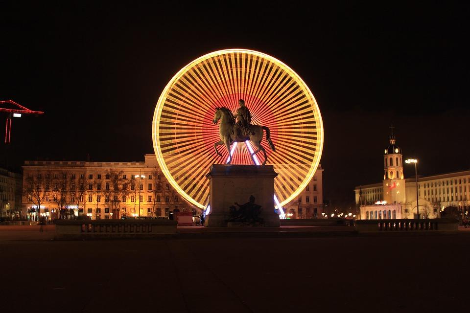 Lyon, Koła, Diabelski, Miejsce, Place Bellecour