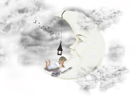 Moon, Clouds, Dream, Lantern, Sky, Boy