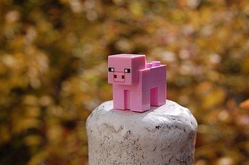 Minecraft, Pig, Bricks, Toy, Piggy, Pink