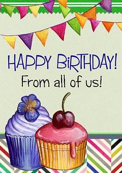 Happy Birthday, Greeting Card, Cake