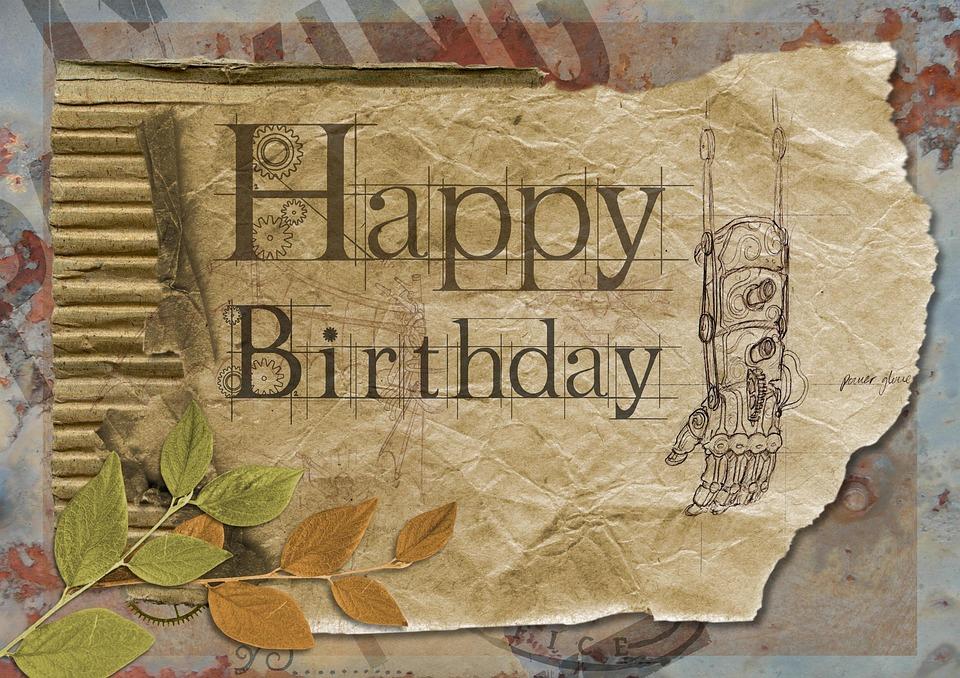 Happy Birthday Greeting Card Grunge Vintage