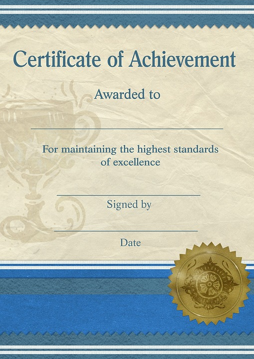 certificate achievement template standard - Certificate Of Achievement Template Free