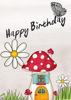 Happy Birthday Card Greeting Pink Butterfl