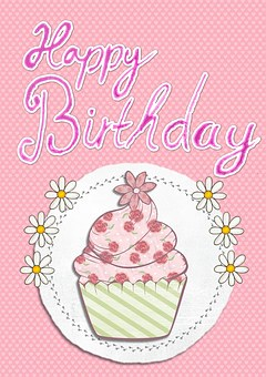 Happy birthday card images pixabay download free pictures happy birthday card greeting pink cupcake bookmarktalkfo Images