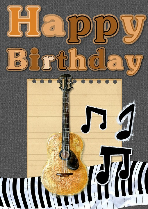 Happy Birthday Card Greeting Guitar Music