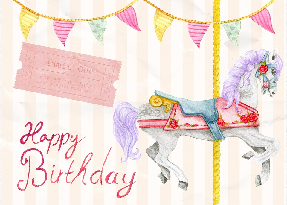 Happy birthday card free image on pixabay happy birthday card greeting carousel horse pink bookmarktalkfo Gallery