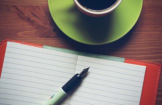 メモ帳, コーヒー, ノートブック, 木造, 仕事, 創造的です, ノート