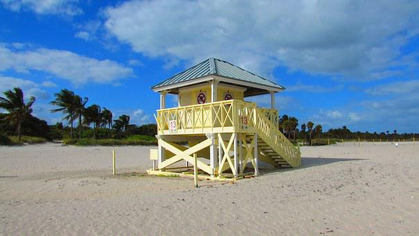 Beach, Miami, Costa, Landscape, Booth