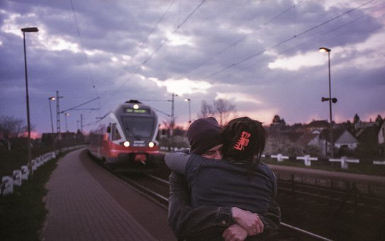 Together, Couple, Love, Train Station