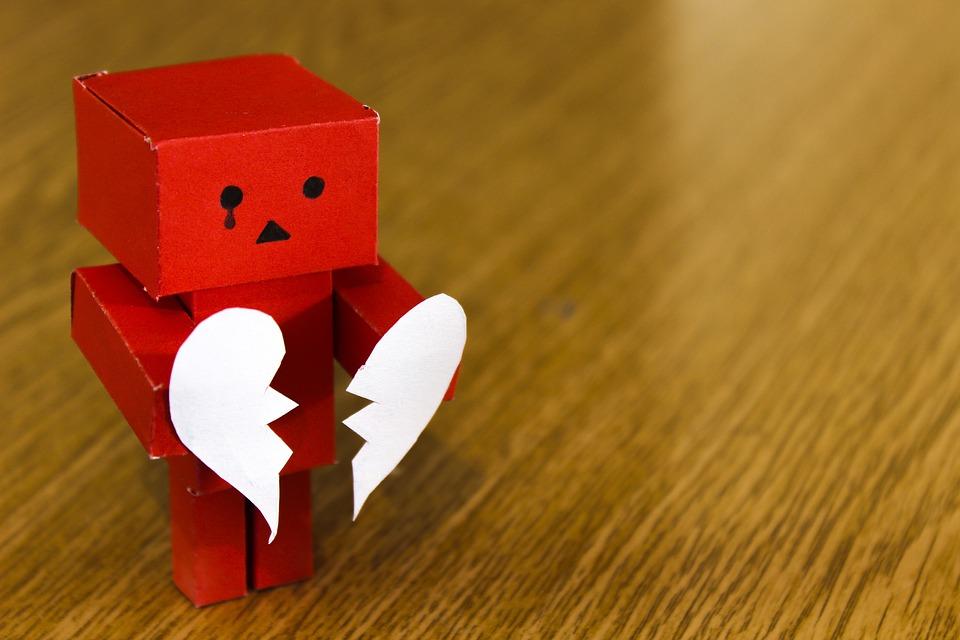 愛, 中心部, 壊れた, 悲しい, 不幸です, 泣く, 泣いている