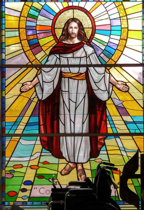 Stained glass jesus glory free photo on pixabay for Stained glass window church