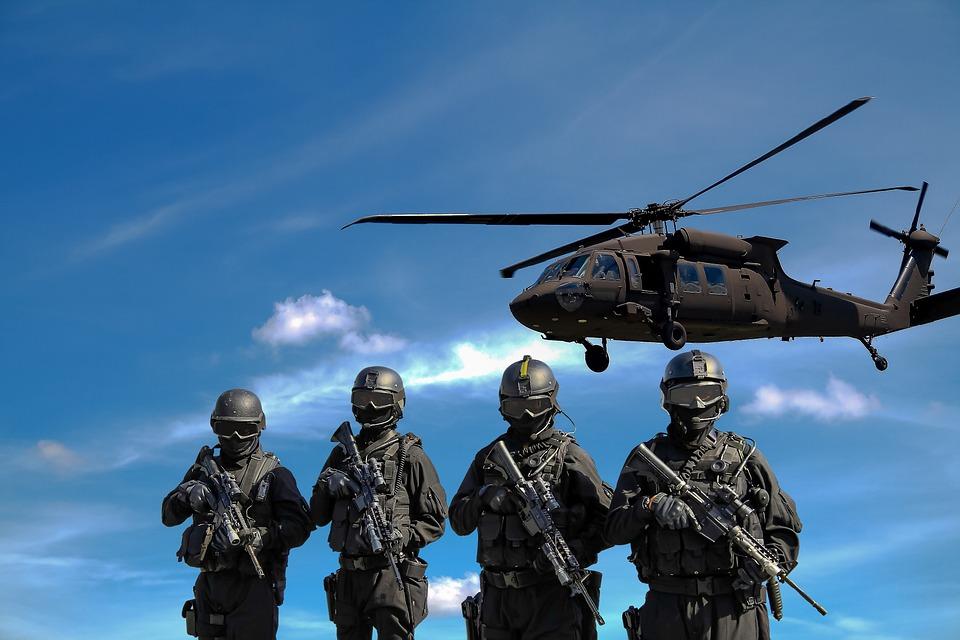 Polizei, Hubschrauber, Militärische, Krieg, Angriff