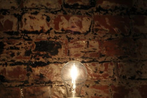 Wand, Glühbirne, Idee, Backstein