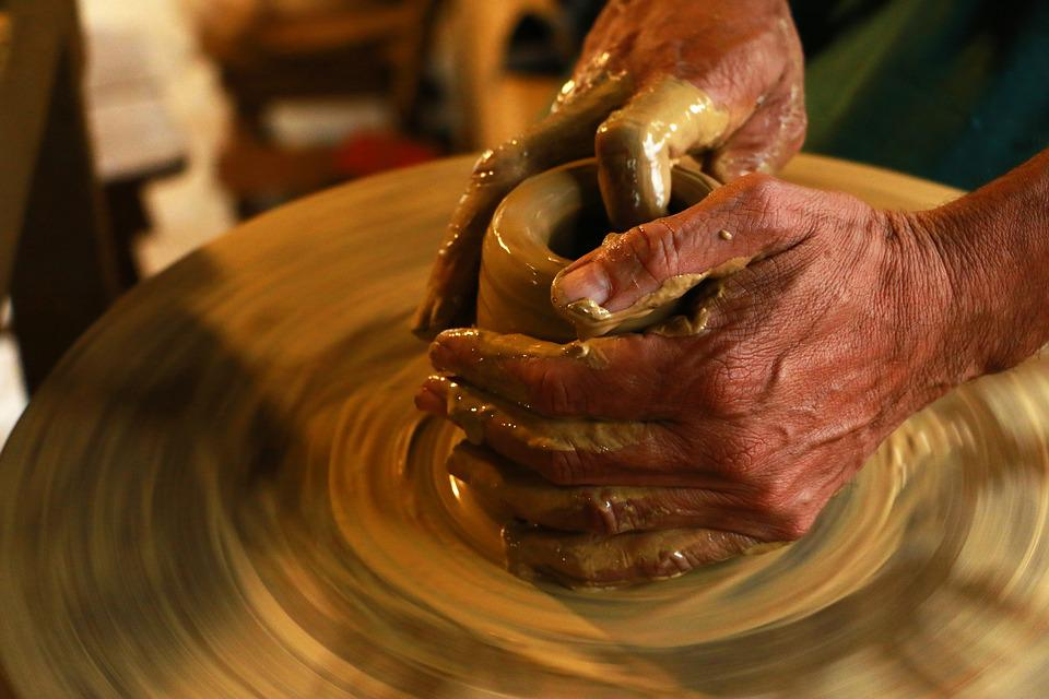 Hands, Spinning, Workshop, Handmade, Ceramics, Pottery