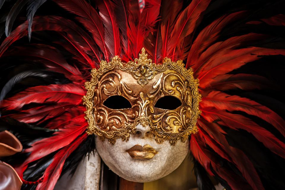 Yeux, Or, Masque, Fissures, Plumes, Carnaval