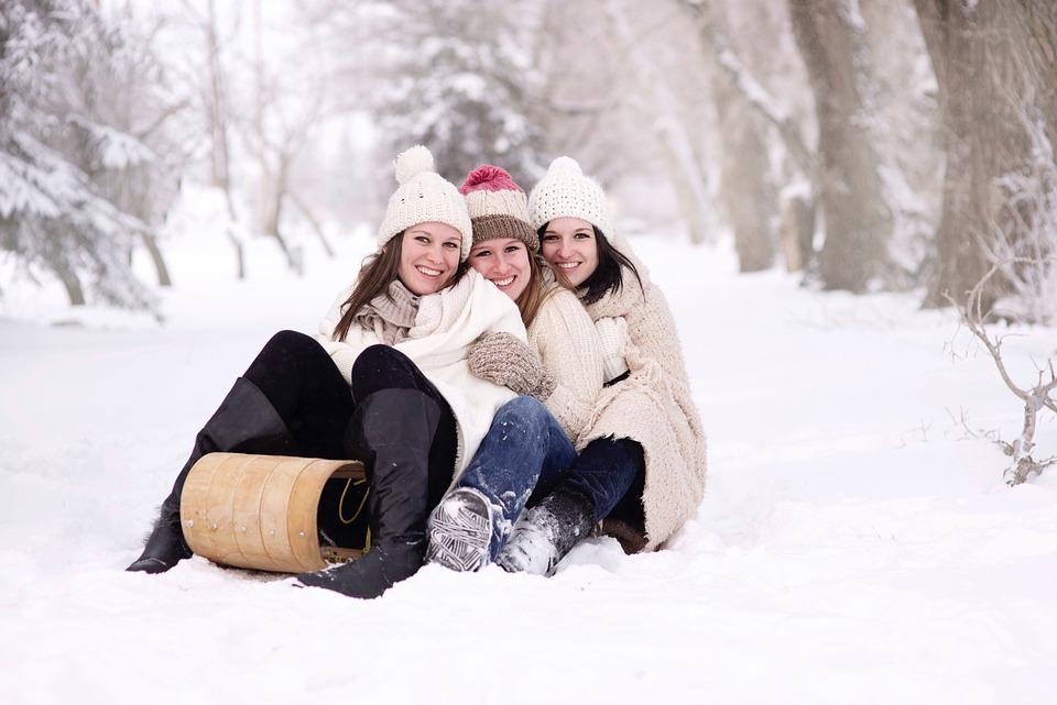 Snow, Mujeres, Feliz, Alegría, Niñas, La Felicidad