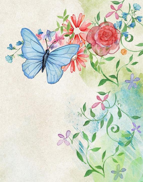 Vintage, Scrapbook, Watercolor, Background, Page