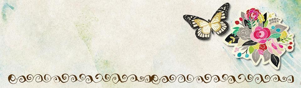 Free Illustration Flower Butterfly Banner Web Free