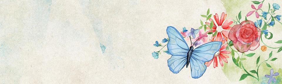 Extrêmement Illustration gratuite: Fleur, Papillon, Bannière, Web - Image  MI52