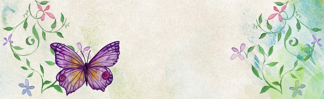 Design kan være så mangt, inkludert vakre vannmalerier med sommerfugler.