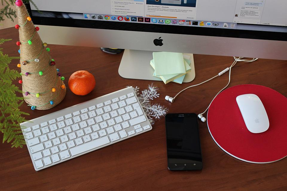 Free photo: Desk, Office, Computer, Christmas - Free Image on ...