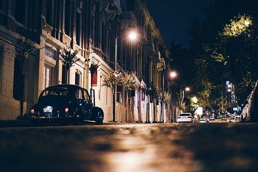 City, Cars, Night, Street, Sidewalk