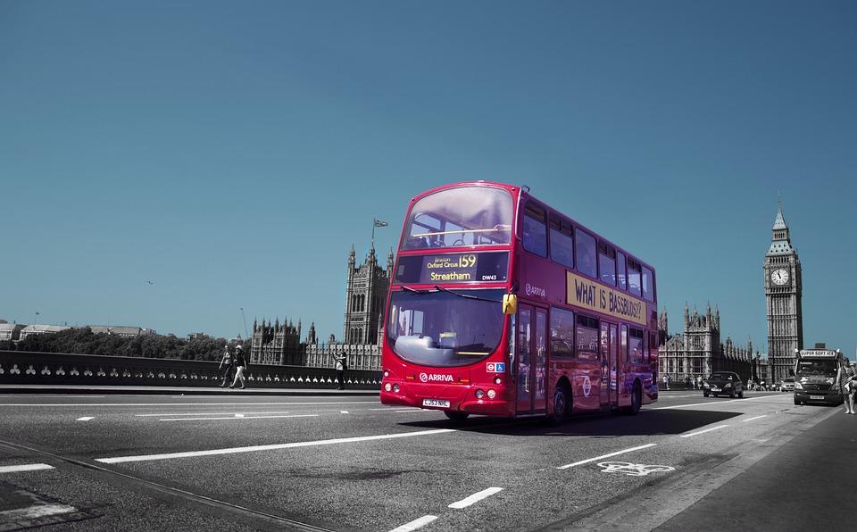 イングランド、イギリス、交通、赤、通り、青、バス、ビッグベン